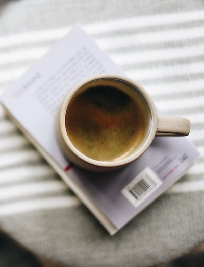 coffee on a book
