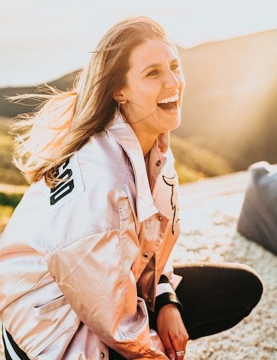 happy woman having fun outdoors